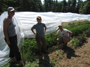 """Carolyn, Angelica, Bill and our new """"port-a-hoopie"""" over fall kale and chard."""