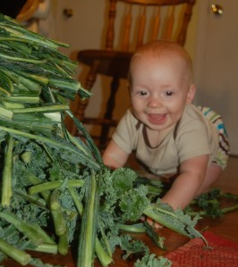 Baby loves his kale