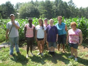 This awesome crew from the Youthlinks School Garden Army program visited the farm last week.  We gave them a tour of the farm and then they tackled the weeds in the sweet corn!  They did a great job, too.  We sent them home with well-earned eggs, eggplant, and tomatoes.