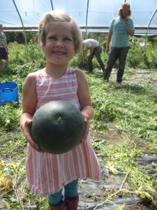 A very happy melon harvester.